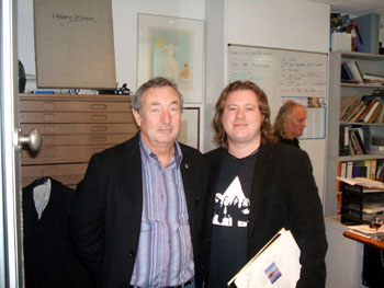 Nick Mason with Alex Day at the launch of Nick's cover art from Pink Floyd's 'Relics' album at St Pauls Gallery on 28 March