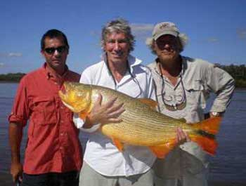 Roger Goes Fishing. Snapped some distance from Buenos Aires. Roger is holding a Dorado fish, understood to weigh more than 20 Kg.