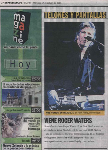 17 Oct 2001 from Clarin, Argentina's largest newspaper. The paper is based in Buenos Aires. With thanks to Richard Mahon