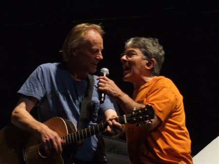"""""""Isn't this where we came in?"""" Jon Joyce and Snowy White (photo by Simon Wimpenny)"""