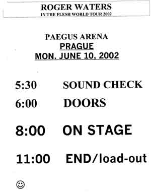 Official show schedule as used by the band. With thanks to John E