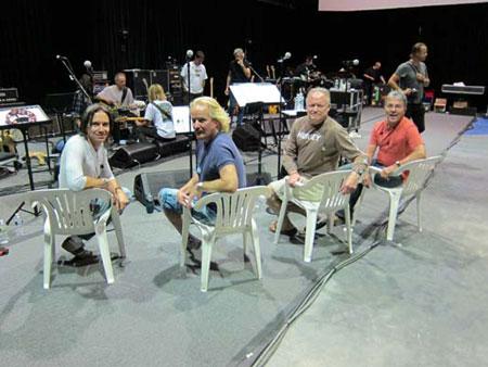 The Male Chorus for the 30th Anniversary Tour at rehearsals in Long Island, NY (Kipp, Mark & Pat Lennon, Jon Joyce, photo courtesy of Venice Central)