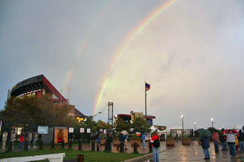 Rainbows over the venue about an hour before show time.