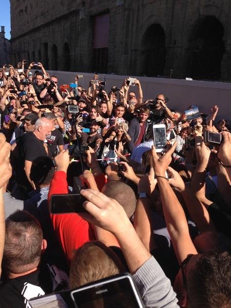 David arrives at the venue