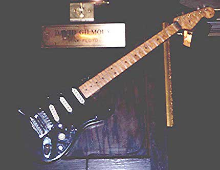 This picture of 'The Black Strat' was taken back in 1996, prior to David requesting the guitars return. (It was on loan to the Hard Rock for 10 years.) With thanks to David Arroyo for the picture. This has been verified as the genuine article.