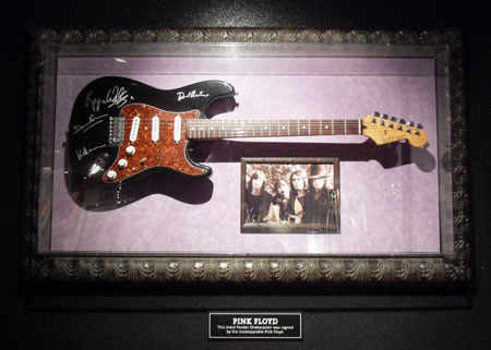 Taken in February 2012 the plaque reads 'This Fender Stratocaster was signed by all members of Pink Floyd'. With thanks to John Elliott